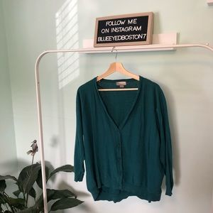 Turquoise Cardigan with 3/4 sleeves